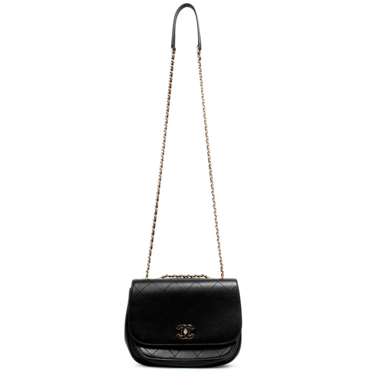 Chanel Black Quilted Calfskin Leather Covered CC Crossbody