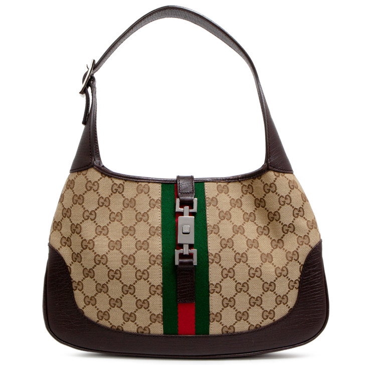 Gucci Dark Brown Monogram Web Jackie O Hobo