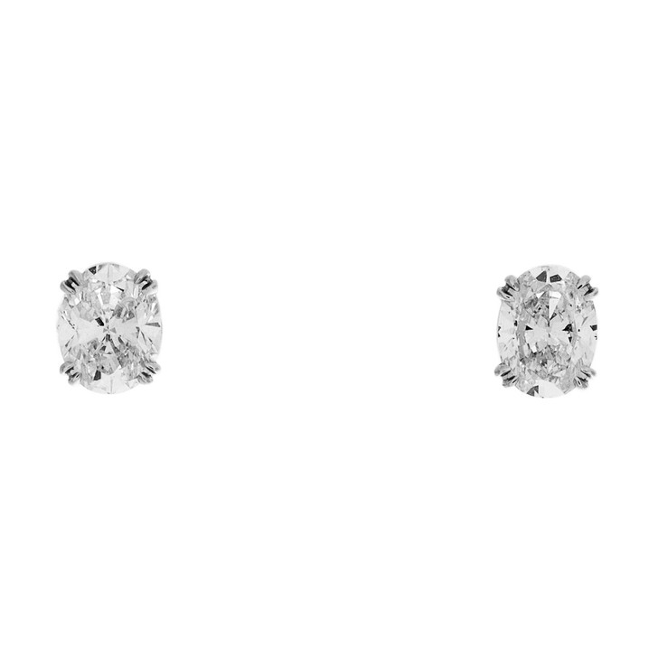Platinum 1.40 Carat Oval Diamond Stud  Earrings