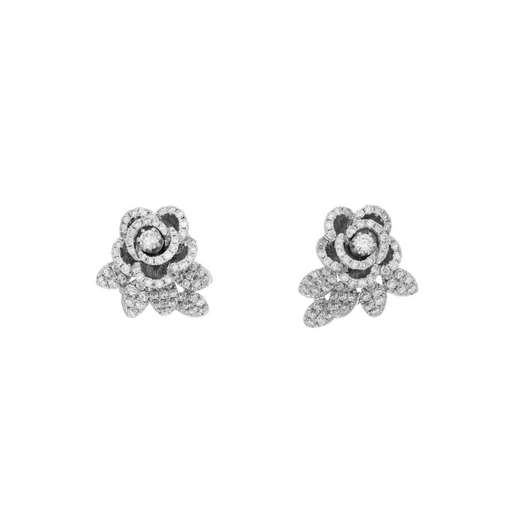 18K White Gold Blossom 1.66 Carat Diamond Earrings
