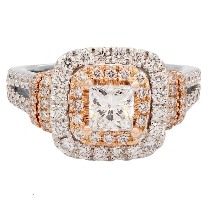 14K White Gold Vera Wang Princess Cut Diamond Ring