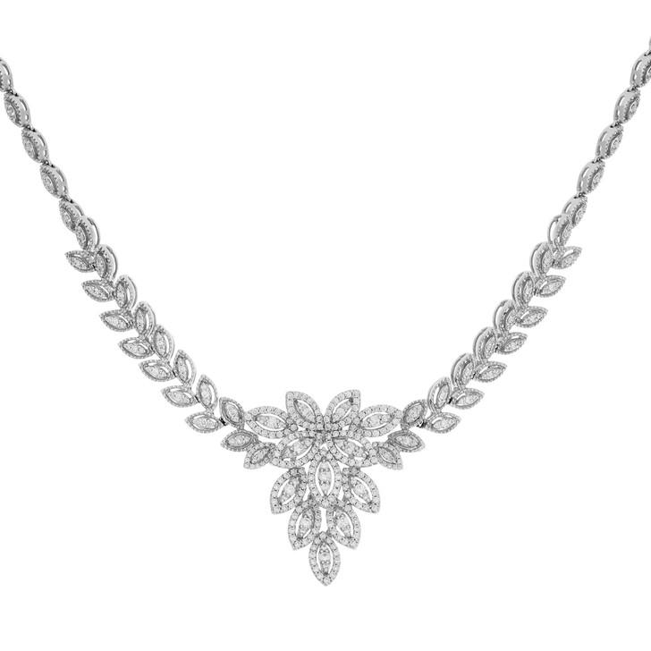 18K White Gold Lavaliere 3.28 Carat Diamond Necklace