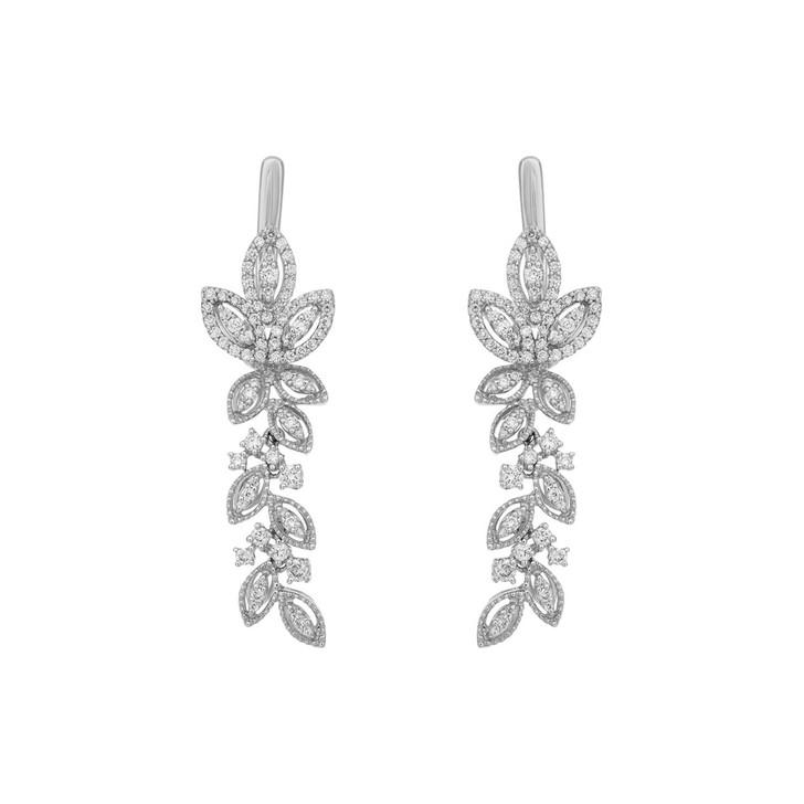 18K White Gold Diamond Foliate Drop Earrings