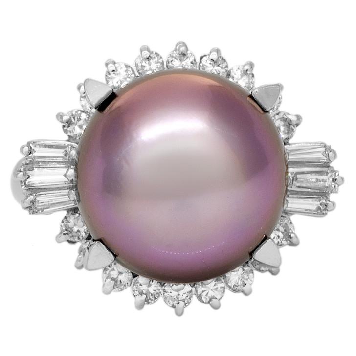 Platinum South Sea Pearl & Diamond Ring