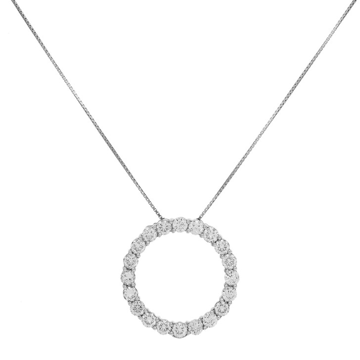 14K White Gold 5.08 Carat Diamond Eternity Pendant