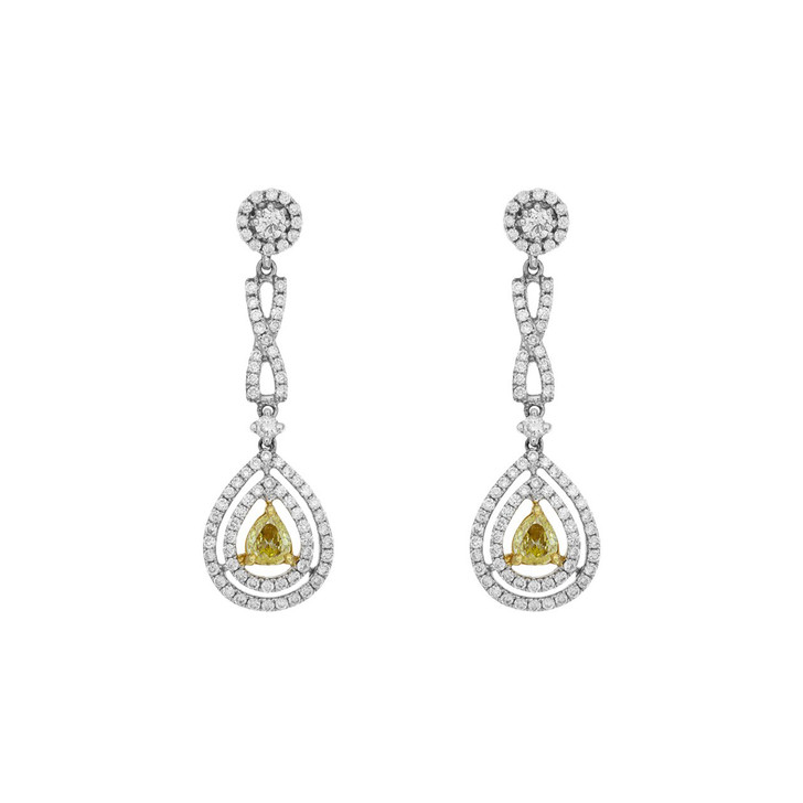 18K White Gold Fancy Yellow Diamond Drop Earrings