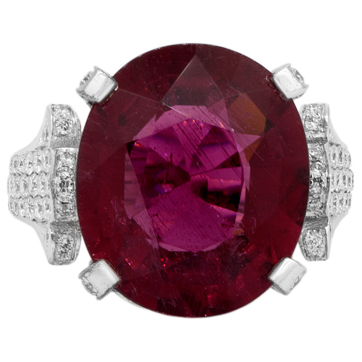 18K White Gold Tourmaline Diamond Ring
