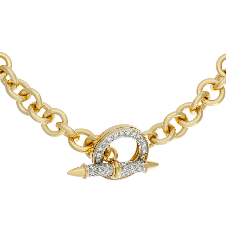 18K Yellow Gold Diamond Vintage Stittgen Toggle Necklace