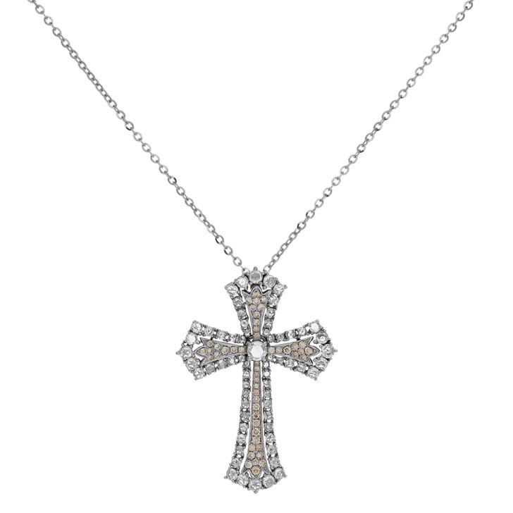 18K White Gold Rose Cut Diamond Cross Pendant
