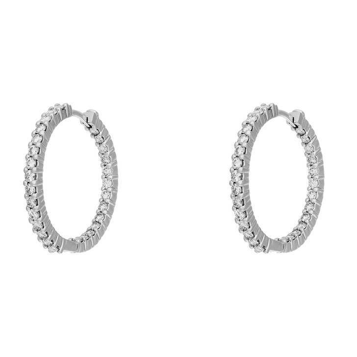 18K White Gold Roberto Coin 1.55 Carat Diamond Ruby Hoop Earrings