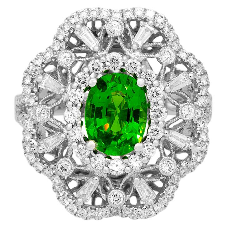 18K White Gold Tsavorite Diamond Ring
