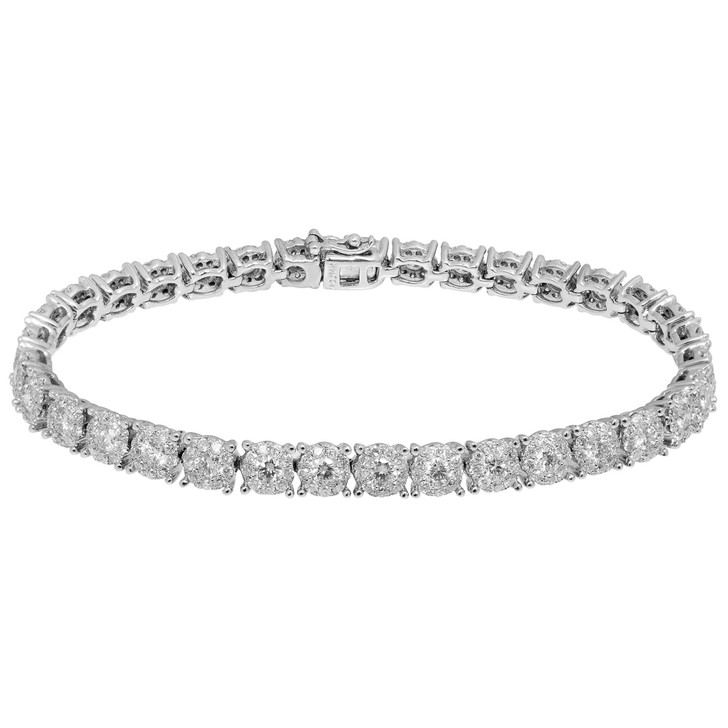 18K White Gold 5.78 Carat Diamond Tennis Bracelet