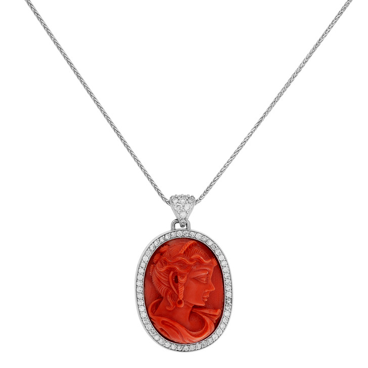 18K White Gold Carved Coral Cameo Pendant
