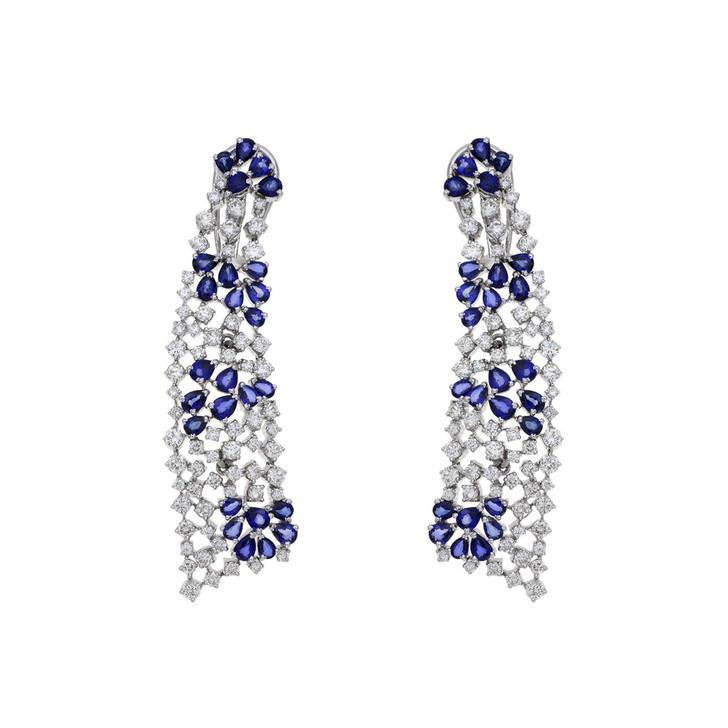 14K White Gold Diamond Sapphire Drop Earrings