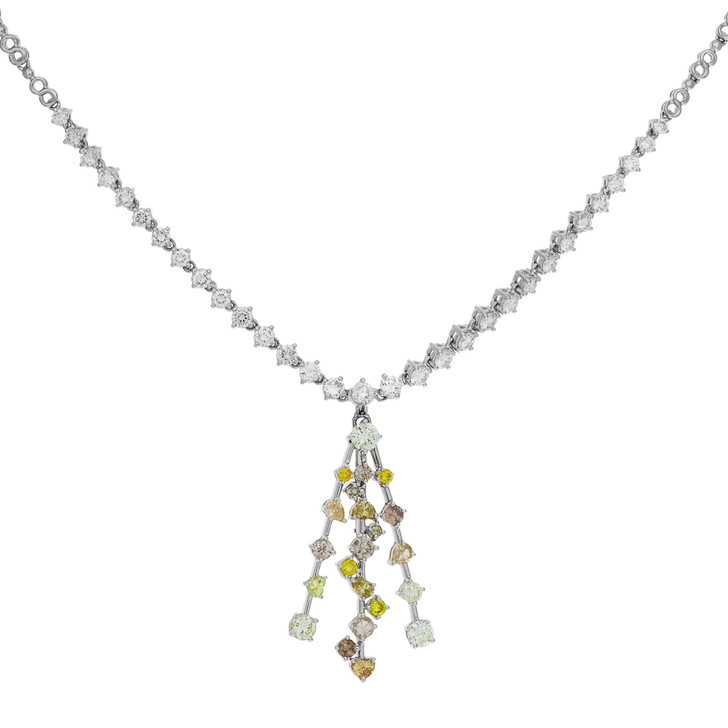 18K White Gold Riviere Necklace w/ Fancy Yellow Diamond Pendant