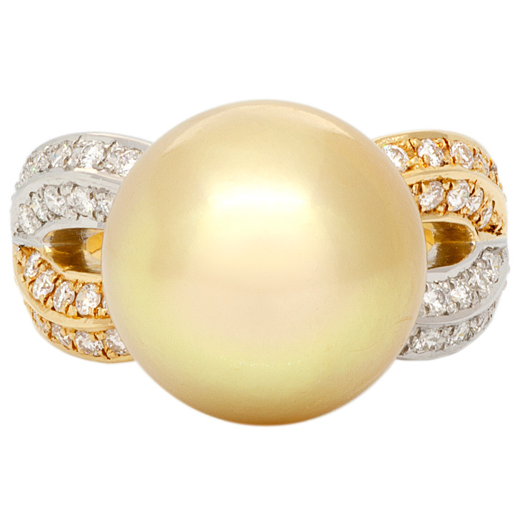 18K Yellow Gold 13.1mm South Sea Pearl Diamond Ring