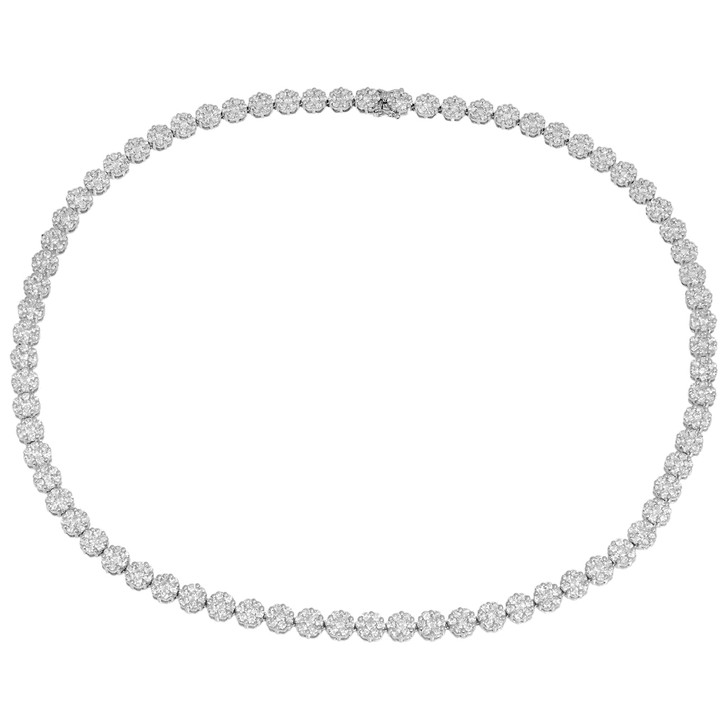 18K White Gold 12.06 Carat Diamond Riviere Necklace