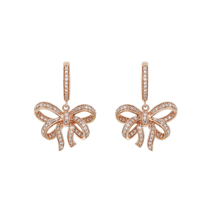 14K Rose Gold Diamond Drop Bow Earrings