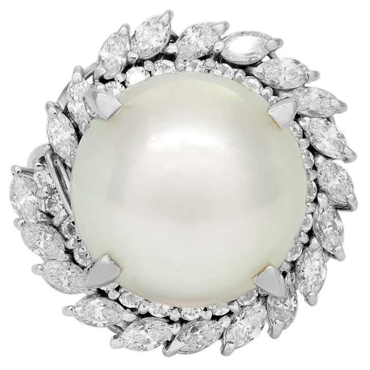 Platinum 13.6mm South Sea Pearl Diamond Ring