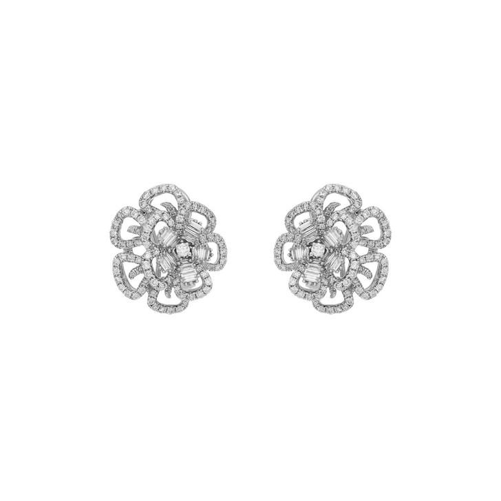 18K White Gold 2.44 Carat Diamond Blossom Earrings