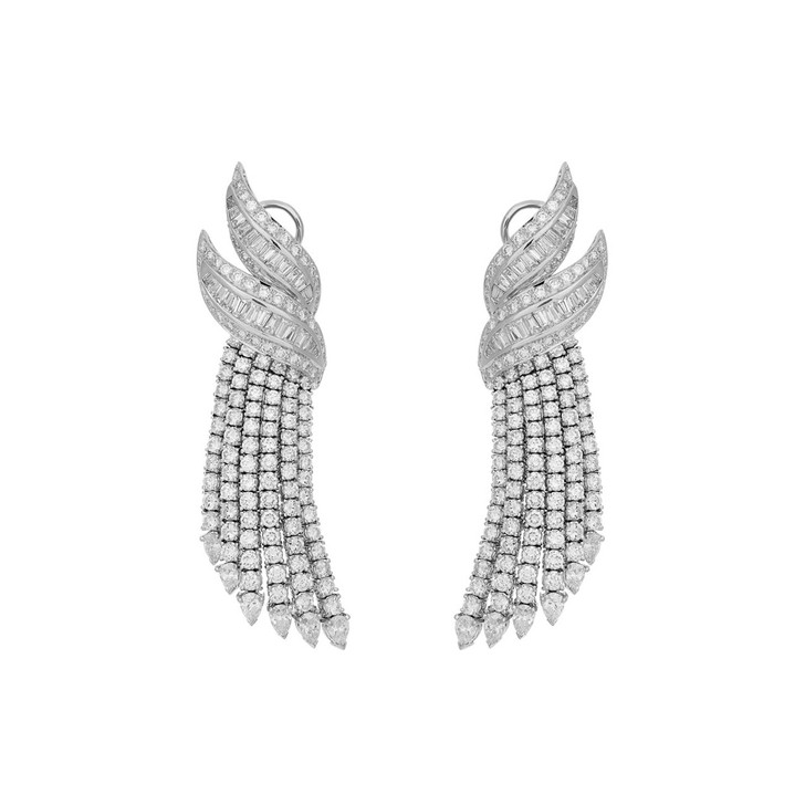 18K White Gold 12.40 Carat Diamond Riviere Earrings