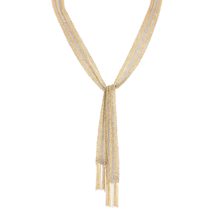 18K Yellow & White Gold Woven Mesh Scarf Necklace