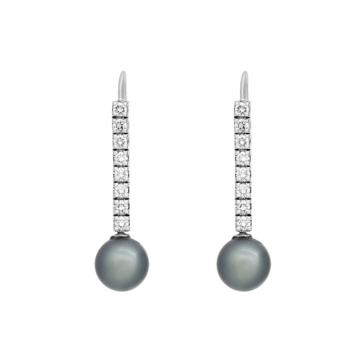 14K White Gold Tahitian Pearl Drop Earrings