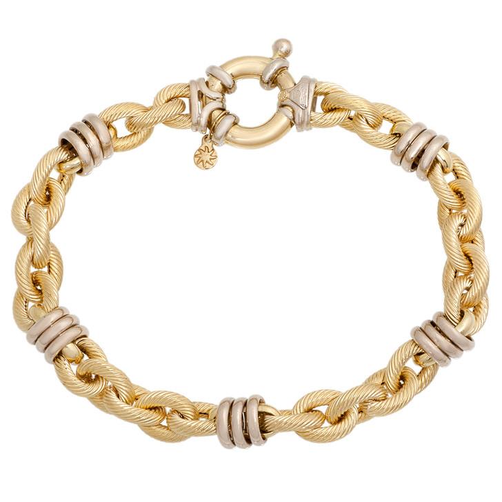 18K Two Tone Cable Link Bracelet