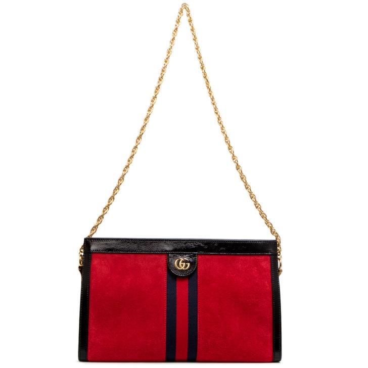 Gucci Red Suede Ophidia Medium Shoulder Bag