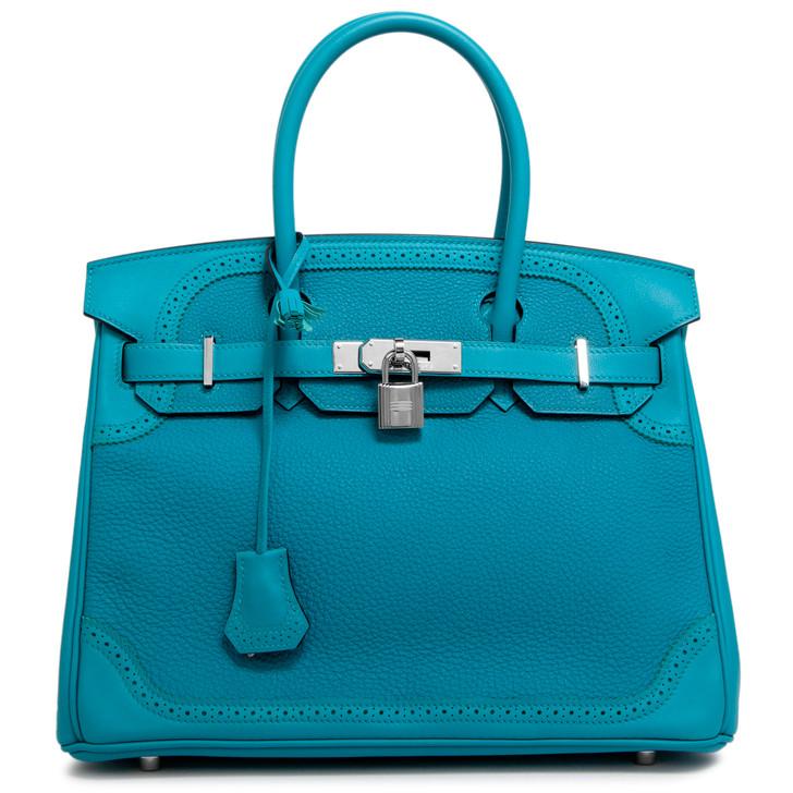Hermes Turquoise Togo/Swift Ghillies Birkin 30