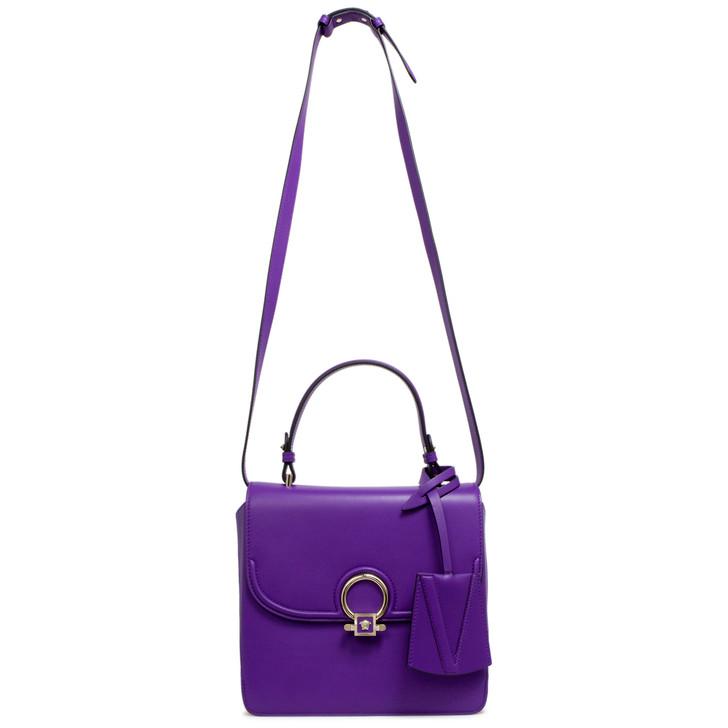 Versace Purple Calfskin Medium DV One Satchel