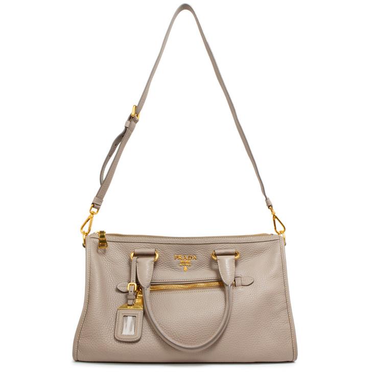Prada Argilla Vitello Daino Front Zip Top Handle Shoulder Bag
