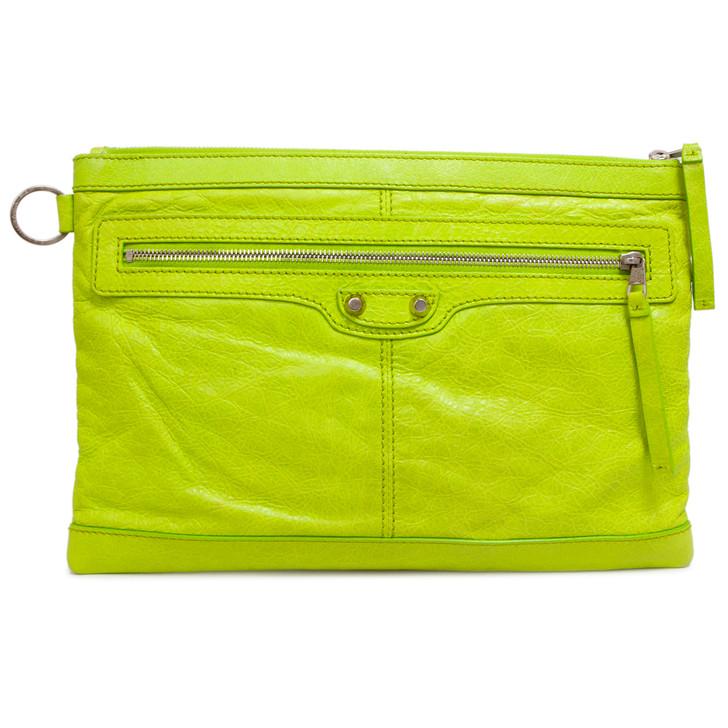 Balenciaga Neon Green Agneau Classic Medium Arena Clip