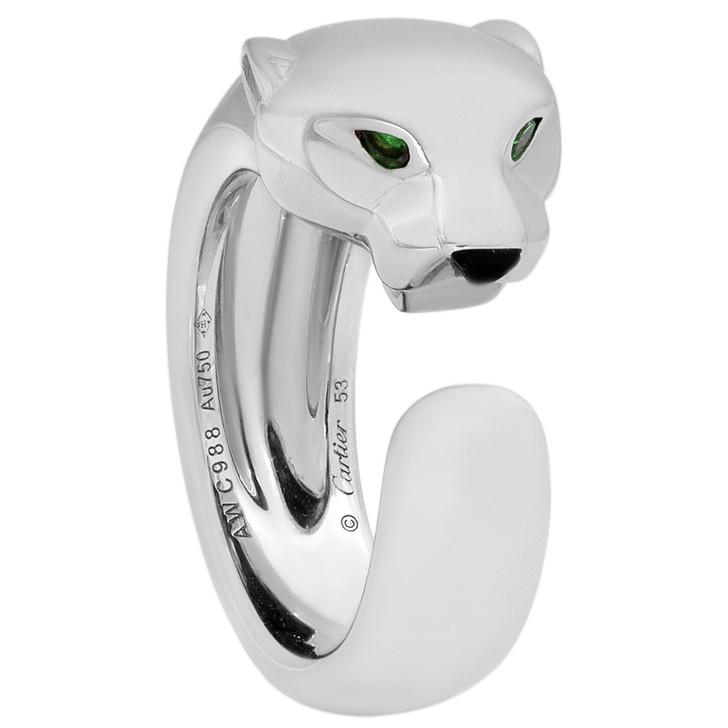 Cartier Panthere de Cartier 18K  White Gold, Tsavorite Garnets & Onyx Ring