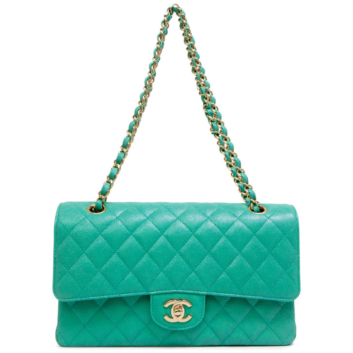 Chanel Teal Iridescent Quilted Caviar Medium Classic Double  Flap
