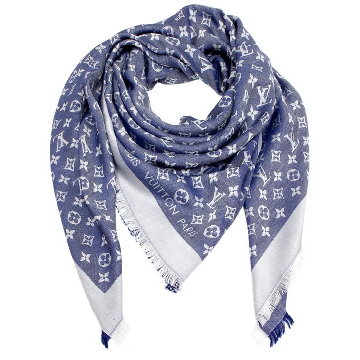 Louis Vuitton Bleu Nuit Monogram Shine Shawl