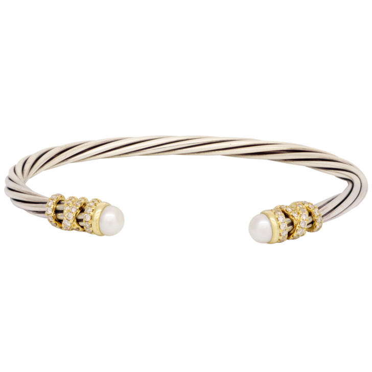 David Yurman Pearl & Diamond Helena End Station Bracelet