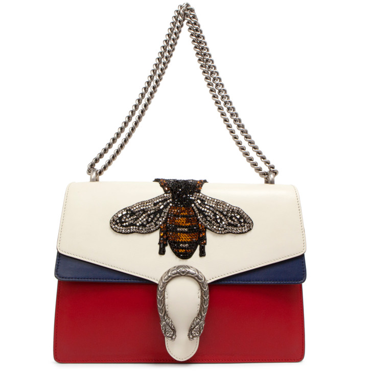 Gucci  White/Blue/Red Calfskin Embroidered Bee Medium Dionysus Shoulder Bag