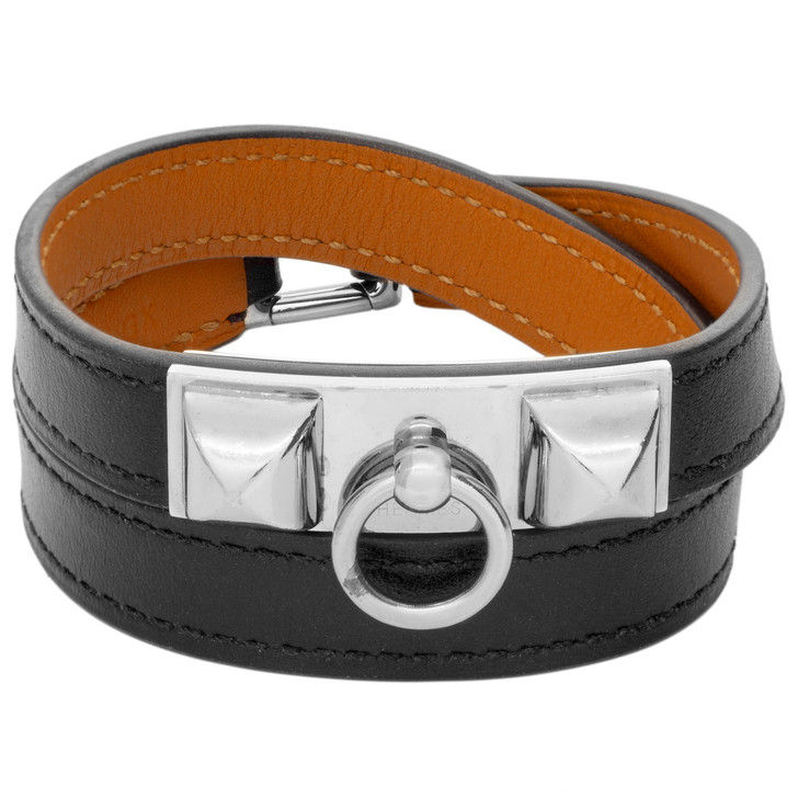 Hermes Black Box Calfskin Rivale Double Tour Bracelet