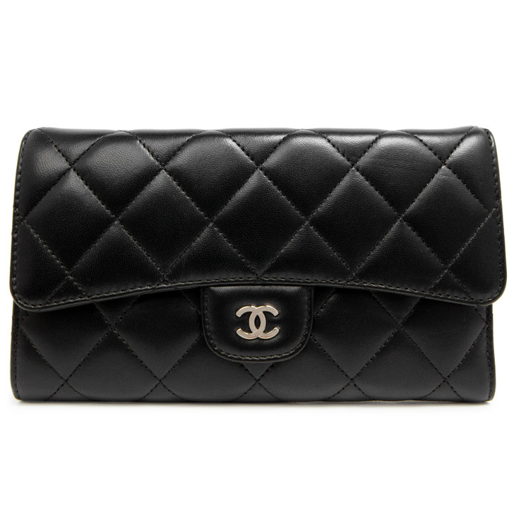 Chanel Black Quilted Lambskin Large Flap Wallet