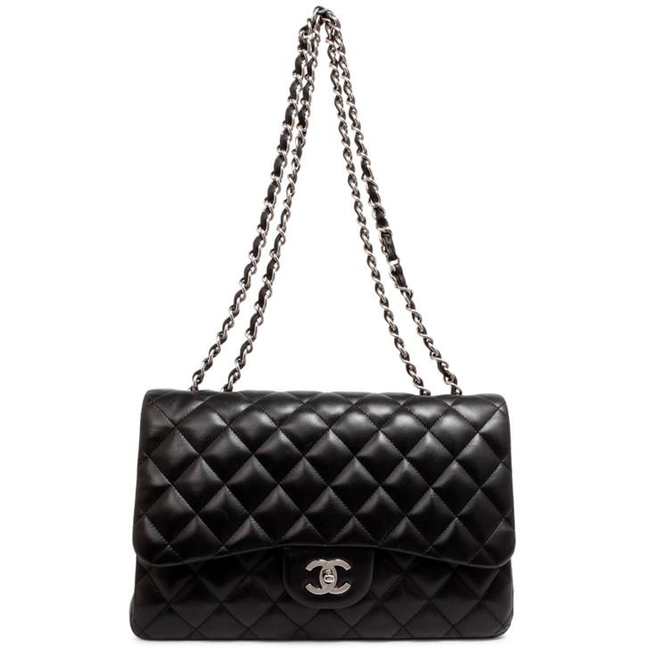 Chanel Black Quilted Lambskin Jumbo Single Flap