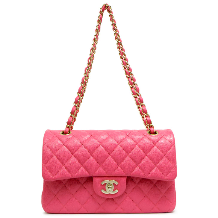 Chanel Pink Quilted Caviar Small Classic Double Flap