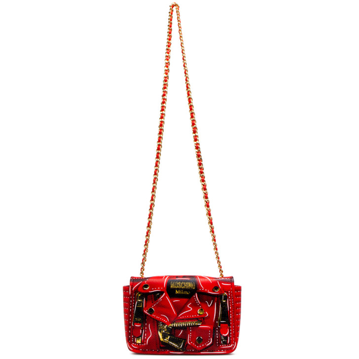 Moschino Red Leather Jacket Print Crossbody