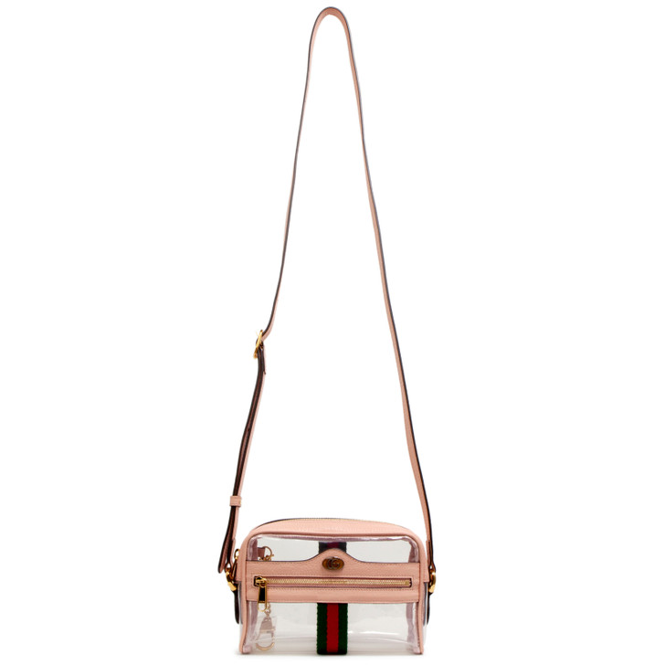 Gucci Pink Vinyl Web Mini Ophidia Transparent Bag