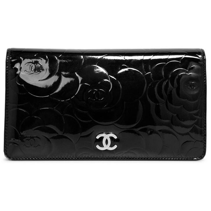 Chanel Black Camellia Embossed Patent Yen Wallet