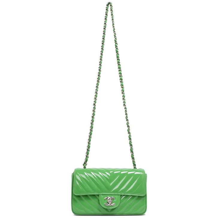 Chanel Green Chevron Patent Mini Rectangular Flap