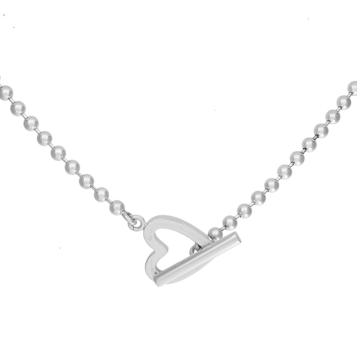 Gucci Sterling Silver Heart Toggle Necklace