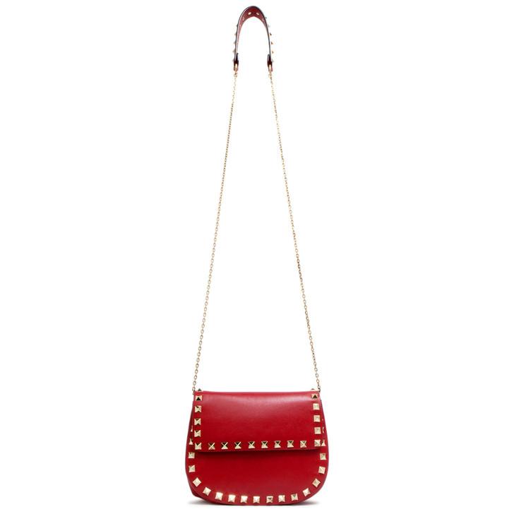 Valentino Red Calfskin Rockstud Saddle Crossbody Bag