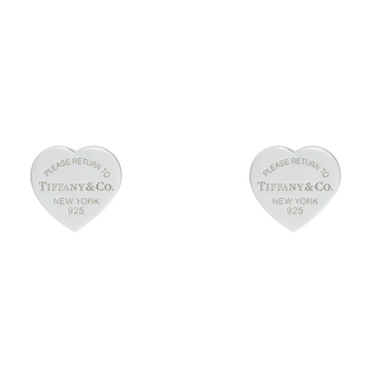 Tiffany & Co. Sterling Silver Mini  Heart Tag Earrings