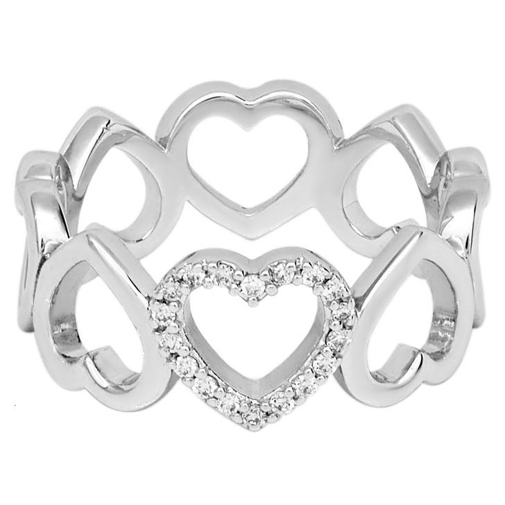 Tiffany & Co. 18K White Gold Diamond Hearts Eternity Ring